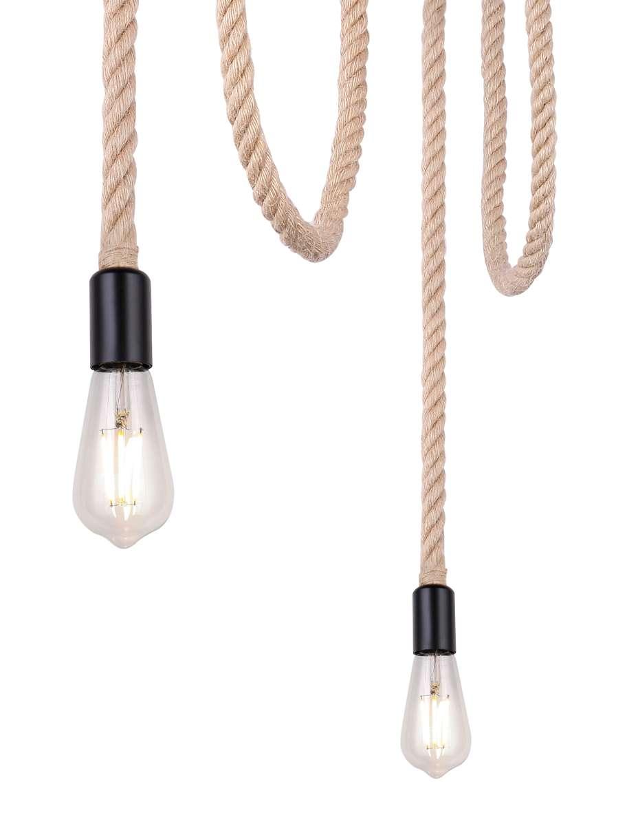 Hängeleuchte   Metall schwarz   Hanfseil braun   Globo Lighting   Leuchten   Lampen   online kaufen